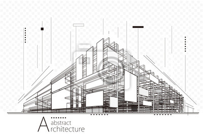 Obraz Abstrakcyjne perspektywy budowy architektury projektowania linii sztuki tła.