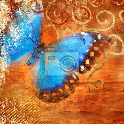 abstrakcyjne tło z niebieskiego motyla