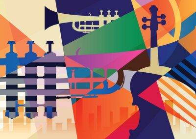 Obraz Abstrakcyjny plakat jazzowy, tło muzyczne