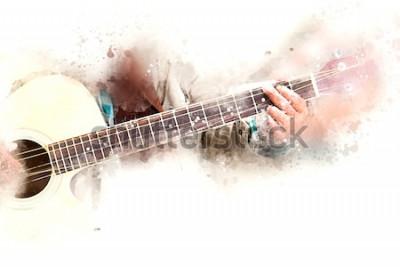 Obraz Abstrakt mężczyzna bawić się gitary akustycznej akwareli obrazu kolorowego tło.