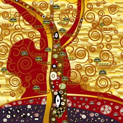 Obraz abstrakter baum - gold