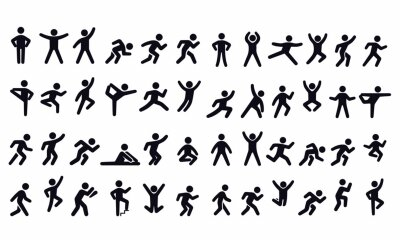 Obraz  Active lifestyle people and vitality vector icon set