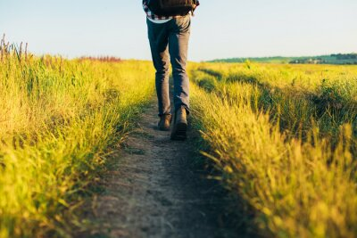 Obraz Active tourist, a man with a briefcase in nature, a hipster in a cap is walking along a path on a green hill, healthy lifestyle