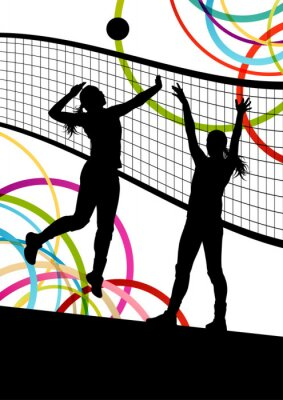 Obraz Active young women volleyball player sport silhouettes in abstra