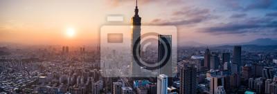 Obraz Aerial drone panorama photo - Sunset over the city of Taipei, Taiwan.  Taipei 101 skyscraper featured.