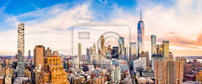 Obraz Aerial panorama of Lower Manhattan skyline at sunset viewed from above Greenwich street in Tribeca neighborhood.
