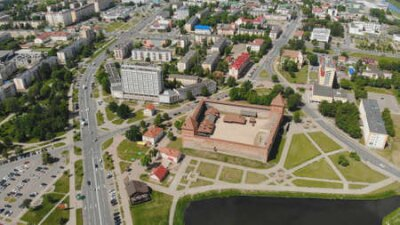 Obraz Aerial panorama of the historic city of Lida with a castle. Belarus