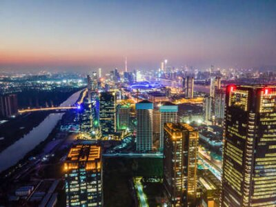 Obraz Aerial photography of the night view of Ningbo City, Zhejiang Province