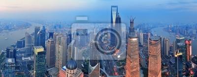 Aerial Shanghai o zachodzie słońca