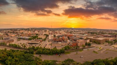 Obraz Aerial sunset view of Scranton Pennsylvania, steamtown or electric city home to the legendary office with dramatic colorful sky