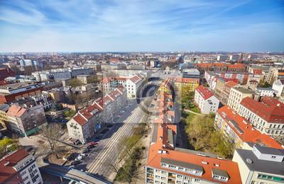 Aerial szeroki kąt Szczecin (Szczecin) city downtown, Poland.