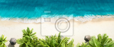 Obraz Aerial top view on sand beach