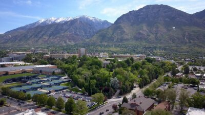 Obraz Aerial view near campus of Brigham Young University in Provo, Utah.