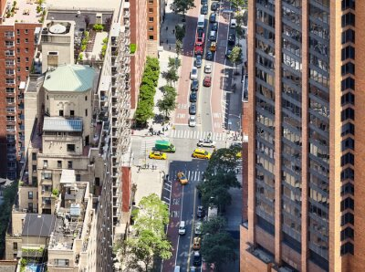 Obraz Aerial view of a street and buildings in downtown New York, USA.