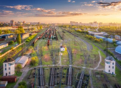 Aerial view of freight trains. Top view of railway station, wagons, railroad. Heavy industry. Industrial landscape with train in depot, green trees, buildings, colorful sky at sunset. Transportation