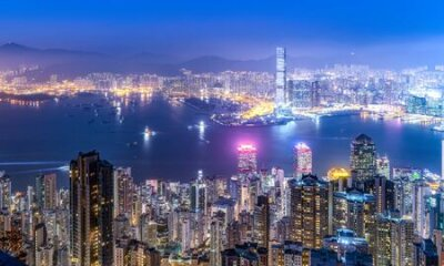 Obraz Aerial view of Hong Kong architecture landscape at night