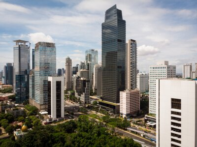 Aerial view of Jakarta business and financial district in Indonesia