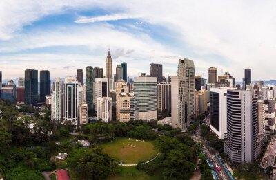 Aerial view of Kuala Lumpur business district skyline in Malaysia