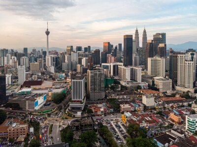 Aerial view of Kuala Lumpur downtown district at sunset in Malaysia capital city in Southeast Asia
