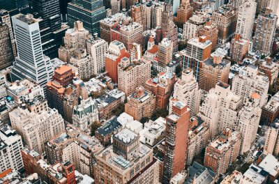 Obraz Aerial view of Manhattan, color toning applied, New York City, USA.