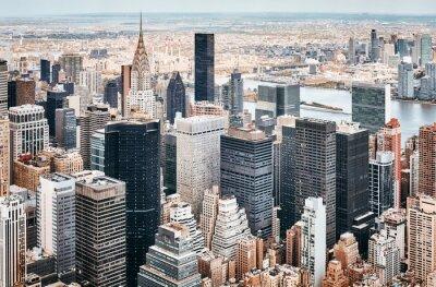 Obraz Aerial view of Manhattan skyline, color toning applied, New York City, USA.