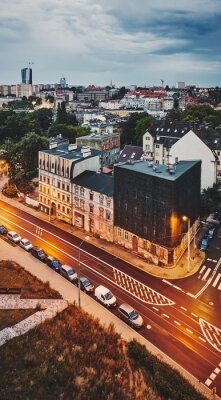 Aerial view of Niebuszewo district in Szczecin City at dusk, color toning applied, Poland.