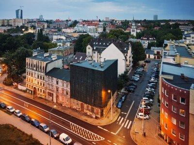 Aerial view of Niebuszewo district in Szczecin City at dusk, Poland.