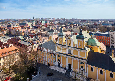 Aerial view of Poznan Old Town on a sunny day, Poland.