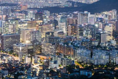 Aerial view of Seoul downtown district with many illuminated office building in South Korea capital city