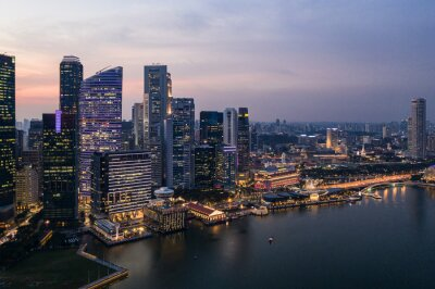 Aerial view of Singapore downtown district skyline by the marina bay in Singapore in Southeast Asia