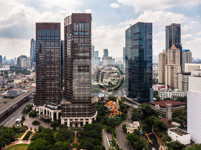 Aerial view of skyscrapers in Jakarta business district