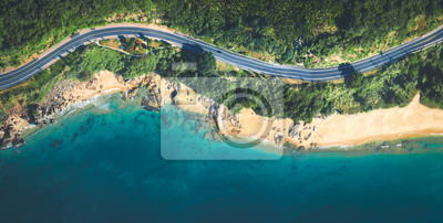 Obraz Aerial view of the sandy beach and  road