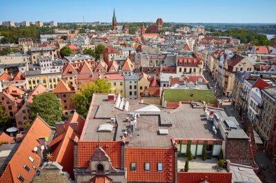 Aerial view of Torun Old town panorama, Poland