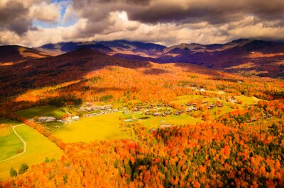 Obraz Aerial view of Trapp Family Lodge during peak foliage season.