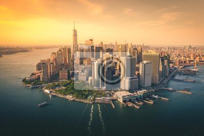 Obraz Aerial Views of Downtown Manhattan Skyline
