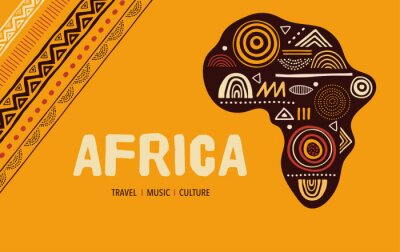 Obraz Africa patterned map. Banner with tribal traditional grunge pattern, elements, concept design