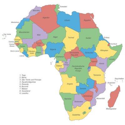 Obraz Afrika - politische Karte (beschriftet)