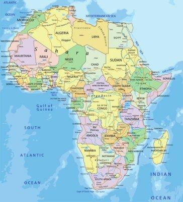 Obraz Afryka - Bardzo szczegółowe edycji mapa polityczna.