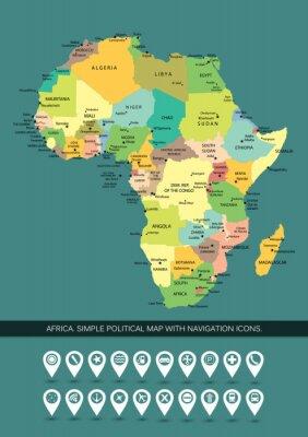 Obraz Afryka bardzo szczegółowe i edycji prosta mapa polityczna