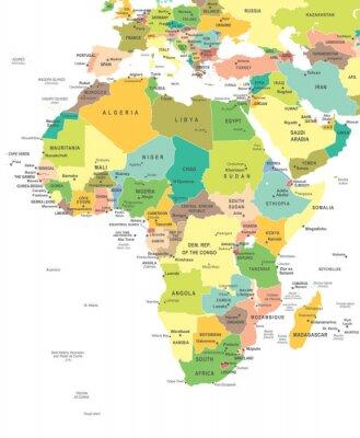 Obraz Afryka - mapa - ilustracji. Mapa Afryka - bardzo szczegółowe ilustracji wektorowych.
