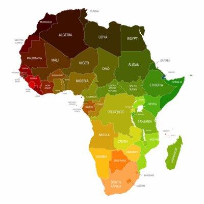 Obraz Afryka Mapa kolorowe kształty Kraje