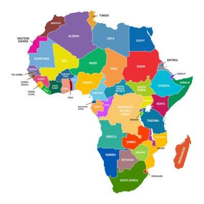Obraz Afryka Mapa Kolorowe Państwa Kształty