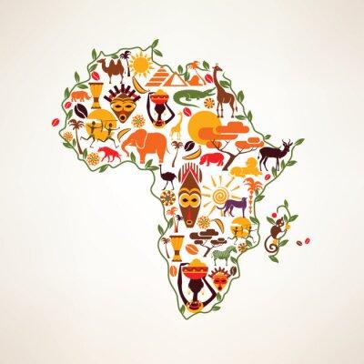 Obraz Afryka mapa podróże, decrative symbolem kontynentu Afryki z eth