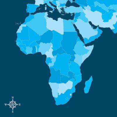 Obraz Afryka Mapa - Wektor Mapa Afryki z północy strzałką