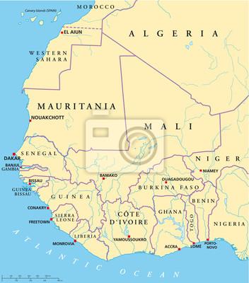 Obraz Afryka Zachodnia Mapa Na Wymiar Wektor Karta Globus Redro Pl