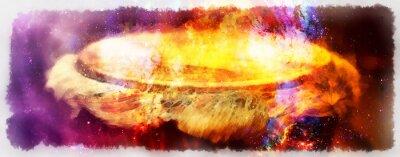 Obraz Afrykański bęben djembe, grafika na tle kosmicznej