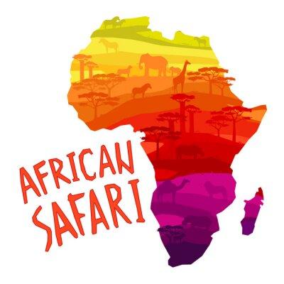 Obraz Afrykańskich zwierząt sylwetki w zachodzie słońca
