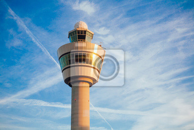 Obraz air traffic control tower in Schiphol airport Netherlands