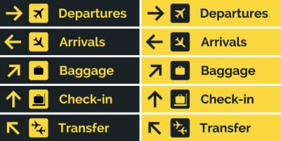 Obraz Airport sign departure arrival travel icon. Vector airport board airline sign, gate flight information
