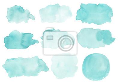 Obraz Akwarela abstrakcyjne kształty na białym tle. Pomalowane plamy, splattery, bloby tła. Ręcznie rysowane malowane elementy projektu na różowo.